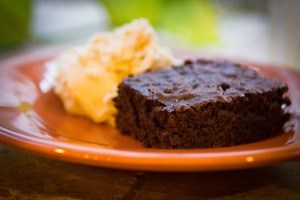 Homemade soy and milk-free brownies, using 100% cocoa